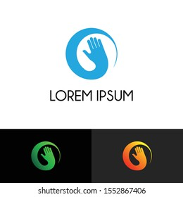 Hand simple logo icon design vector