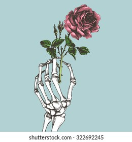 Hand skeleton with flower. Vector illustration.