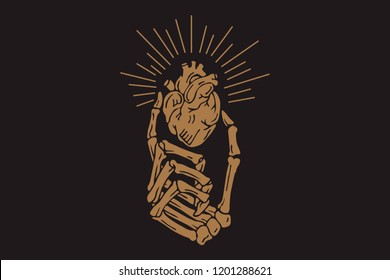 hand skeleton with torn heart