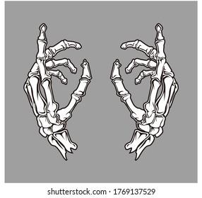 Hand skeleton vector drawing illustrator