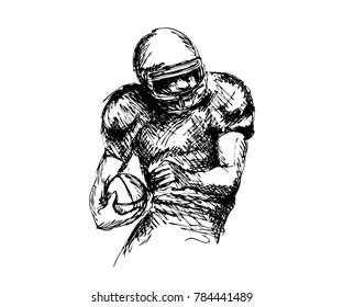 Hand sketch american football player. Vector illustration