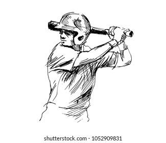 Hand sketch baseball player. Vector illustration