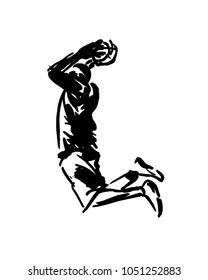 Hand sketch of basketball player. Vector illustration