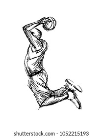Hand sketch of basketball player. Vector illustration