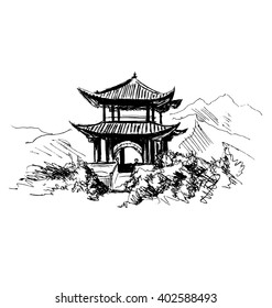 Hand sketch Chinese landscape