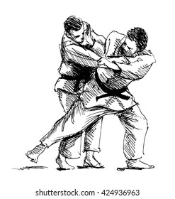 Hand sketch competing judo. Vector illustration
