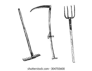 hand sketch of farm tools