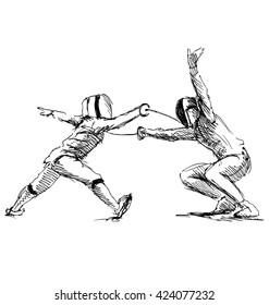 Hand sketch fencers. Vector illustration