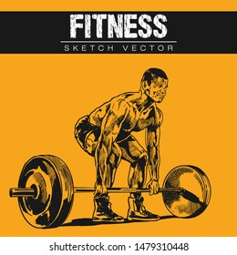 Hand sketch of Fitness. Vector illustration