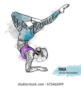 Hand sketch of a girl doing yoga. Vector sport illustration. Watercolor silhouette of the athlete with thematic words. Text graphics, lettering.