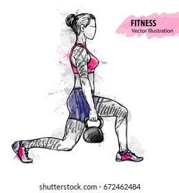 Hand sketch of a girl is training with weight. Vector sport illustration. Watercolor silhouette of the athlete with thematic words. Text graphics, lettering.