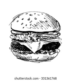hand sketch hamburger