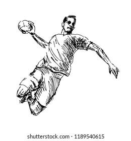 Hand Sketch Handball player. Vector illustration