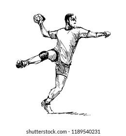 Hand Sketch Handballman. Vector illustration