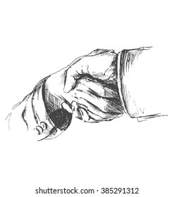 Hand sketch handshake