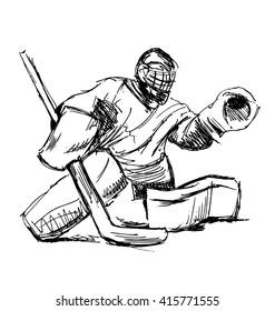 Hand sketch hockey goalie. Vector illustration