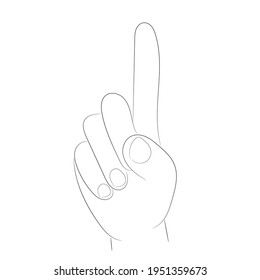 Hand sketch, index finger raised up and the rest of the fingers bent