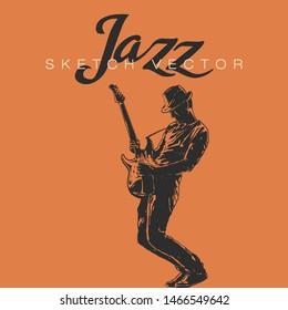 Hand sketch of Jazz Musician. Vector illustration