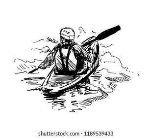 Hand sketch kayaker. Vector illustration