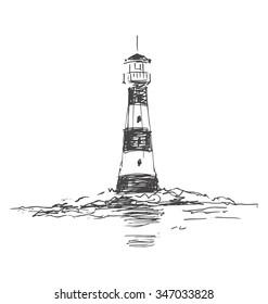 Hand sketch lighthouse