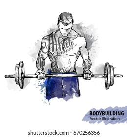 Hand sketch of a man with a barbell. Vector sport illustration. Watercolor silhouette of the athlete with thematic words. Text graphics, lettering.