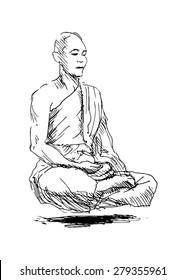 hand sketch meditating monk
