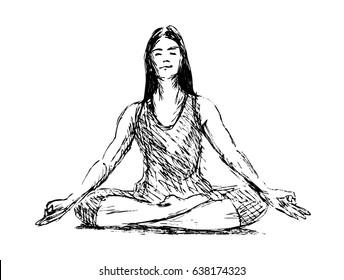Hand Sketch Meditating Woman. Vector illustration