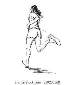Hand sketch of a running woman