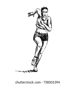 Hand sketch of running woman. Vector illustration