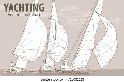 Hand sketch of sailing yachts regatta. Races in the sea. Vector sport illustration. Graphic silhouette of yachts on background design. Active people. Traveling. Extreme lifestyle.