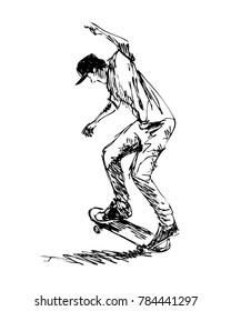 Hand sketch of a skateboarder. Vector illustration
