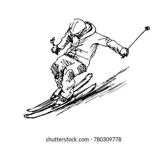 Hand sketch skier. Vector illustration