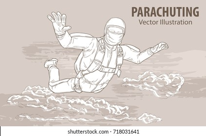 Hand sketch of skydiving athlete in the clouds. Vector sport illustration. Graphic silhouette of the man flying in the sky. Active people. Extreme lifestyle.