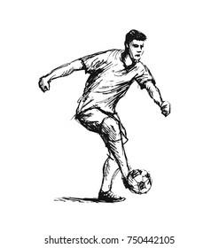 Hand sketch soccer player. Vector illustration