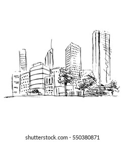 Hand sketch town. Vector illustration