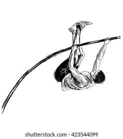 Hand sketch vaulter. Vector illustration