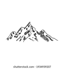 Hand sketch of winter mountains. mountains, vector sketch on a white background