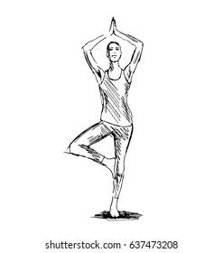 Hand sketch woman practicing yoga. Vector illustration