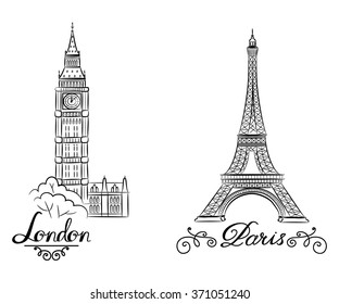 hand sketch World famous landmark collection : Big Ben London, England and sketch of Paris, Eiffel Tower. Vector illustration