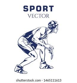 Hand sketch of Wrestling. Vector illustration