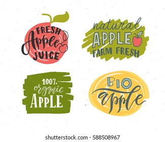 Hand sketched apple lettering typography. Farmers market, organic food, natural product design, juice, pie, jam concept. Fruit design style. Calligraphy badge, icon set. Logo, banner, tag, template.