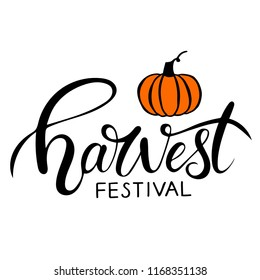 Hand sketched autumn lettering Harvest Festival with pumpkin drawing. Modern brush calligraphy. Handwritten vector illustration isolated on white background for cards, posters, banners, logo, tags.