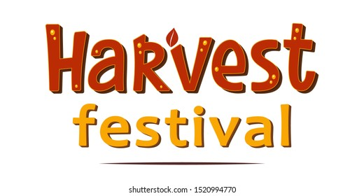 Hand sketched autumn lettering Harvest Festival. Harvest fest bright poster design. Handwritten fall vector illustration isolated on white background for cards, posters, banners, logo, tags.