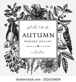 Hand sketched autumn retro design with birds. Elegant botanical square template with autumn leaves, berries, flowers and birds sketches. Perfect for invitation, cards, flyers, menu, label, packaging.