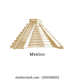 Hand sketched Aztec pyramid. Vector illustration of Mexican tourist attraction. Latin American travel symbol.