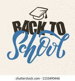 Hand sketched Back to school text on textures background. Perfect design for logo, banner, flyer, card template, greeting cards, posters, T-shirts,. Vector illustration. Lettering typography.