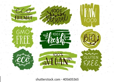 Hand sketched badges and labels with vegetarian, vegan, raw, eco, bio, natural, fresh, gluten and GMO free food design. Organic elements set for cafe, restaurant, food, drinks. Farmer market concept.