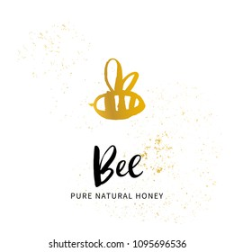 Hand sketched bee honey logo. Gold and Black cut silhouette on a white background. Hand drawn design elements. Vector illustration.