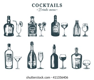 Hand sketched bottles and glasses of alcoholic beverages. Vector set of drinks and cocktails. Restaurant, cafe, bar menu illustrations:rum,tequila,margarita,gin tonic, beer,vodka,champagne,cognac etc.