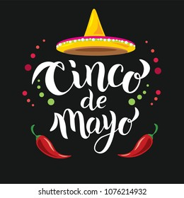 Hand sketched Cinco de Mayo text. May 5, federal holiday in Mexico. Fiesta banner and poster design with chili pepper, Mexican hat sombrero and decorations. Good for card, banner, icon, label.
